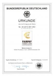 FairPay-Eintragungsurkunde